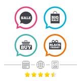 Значки пузыря речи продажи Купите символ тележки Стоковое фото RF