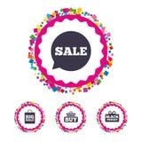 Значки пузыря речи продажи Купите символ тележки Стоковое Изображение RF