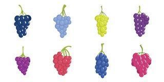 Значки пука вина виноградины установили, плоский стиль бесплатная иллюстрация