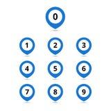 Значки пункта карты установленные с номерами Иллюстрации вектора coloful иллюстрация штока
