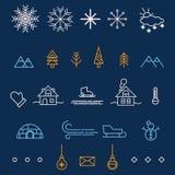Значки плана зимы Элементы дизайна для вашего дизайна рождества Стоковое Изображение