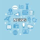 Значки плана новостей минимальные Стоковое Изображение