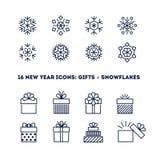 Значки плана снежинок и подарков установили для новой Стоковые Изображения