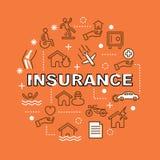Значки плана страхования минимальные Стоковое Изображение RF
