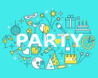 Значки плана торжества Иллюстрация концепции времени партии, тонкая Стоковые Изображения RF