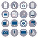 Значки плоского дизайна установленные бытовых устройств Стоковые Изображения
