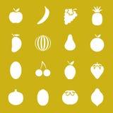 Значки плодоовощ плоские Стоковые Изображения