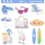 Значки пляжа вектора установили 1 Стоковые Изображения