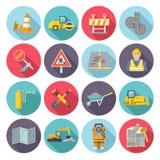 Значки работника дороги плоские бесплатная иллюстрация