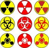 Значки радиации, токсических и био hazzard иллюстрация вектора