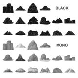 Значки различных гор черные в собрании комплекта для дизайна Горы и сеть запаса символа вектора ландшафта иллюстрация штока
