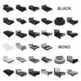 Значки различных кроватей черные в собрании комплекта для дизайна Мебель для сети запаса символа вектора спать равновеликой иллюстрация штока
