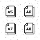 Значки размера бумаги A5 A6 A7 A8 Символ документа Стоковое Изображение RF