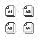 Значки размера бумаги A1 A2 A3 A4 Символ документа иллюстрация вектора