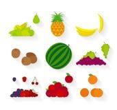Значки различного плодоовощ плоские Стоковое Фото