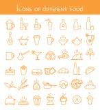 Значки различной еды Стоковые Фотографии RF