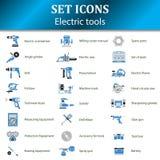 Значки различных электрических инструментов для онлайн магазина стоковые изображения rf