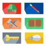 Значки расквартировывают, рисуют, инструменты, ключ, лампочка иллюстрация штока