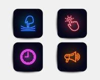 Значки резинки, Touchpoint и времени Знак мегафона Гибкость, технология касания, часы офиса рекламодателя вектор бесплатная иллюстрация