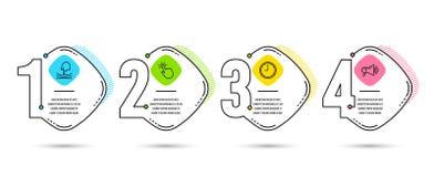 Значки резинки, Touchpoint и времени Знак мегафона Гибкость, технология касания, часы офиса рекламодателя вектор иллюстрация штока