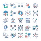 Значки рекламы, связи и сети связывают иллюстрация вектора