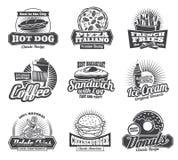 Значки ресторана или бистро фаст-фуда вектора Стоковые Фото