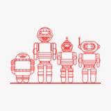 Значки робота, роботы шаржа Стоковая Фотография RF