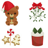 Значки рождества и Нового Года праздничные Стоковые Изображения RF
