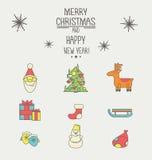 Значки рождества и Нового Года с толстым ходом Стоковые Изображения RF
