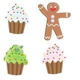 Значки рождества, 3 пирожного и человек пряника Стоковая Фотография