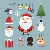 Значки рождества устанавливают, vector, плоский дизайн Стоковое Изображение RF