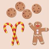 Значки рождества установили, печенья, человек пряника и тросточки конфеты Стоковое Фото