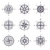 Значки розового или старого, винтажного компаса ветра heraldic Стоковое фото RF