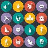 Значки рок-музыки плоские Стоковая Фотография