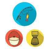 Значки рыбной ловли и остатков плоские в собрании комплекта для дизайна Снасть для удить иллюстрацию сети запаса символа вектора иллюстрация штока