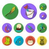 Значки рыбной ловли и остатков плоские в собрании комплекта для дизайна Снасть для удить иллюстрацию сети запаса символа вектора бесплатная иллюстрация