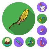 Значки рыбной ловли и остатков плоские в собрании комплекта для дизайна Снасть для удить иллюстрацию сети запаса символа вектора иллюстрация вектора