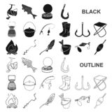 Значки рыбной ловли и остатков черные в собрании комплекта для дизайна Снасть для удить иллюстрацию сети запаса символа вектора иллюстрация штока