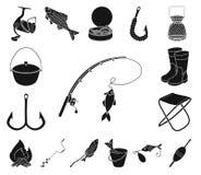 Значки рыбной ловли и остатков черные в собрании комплекта для дизайна Снасть для удить иллюстрацию сети запаса символа вектора иллюстрация вектора