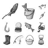 Значки рыбной ловли и остатков monochrome в собрании комплекта для дизайна Снасть для удить иллюстрацию сети запаса символа векто бесплатная иллюстрация