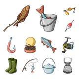 Значки рыбной ловли и шаржа остатков в собрании комплекта для дизайна Снасть для удить иллюстрацию сети запаса символа вектора иллюстрация вектора