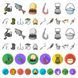 Значки рыбной ловли и шаржа остатков в собрании комплекта для дизайна Снасть для удить иллюстрацию сети запаса символа вектора иллюстрация штока