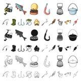 Значки рыбной ловли и шаржа остатков в собрании комплекта для дизайна Снасть для удить иллюстрацию сети запаса символа вектора бесплатная иллюстрация