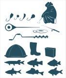 Значки рыбной ловли зимы Стоковые Изображения