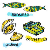 Значки рыб и морепродуктов Португалии традиционные Стоковые Изображения RF