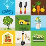 Значки садовничают, огород, покрашенная квартира Иллюстрация вектора