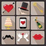 Значки свадьбы дизайна для сети и Mobile.Vector Стоковые Фотографии RF