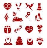 Значки свадьбы Стоковые Изображения