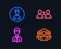 Значки связи, бизнесмена и персоны Знак группы женщин Потребители говоря, пользовательские данные, редактируют профиль бесплатная иллюстрация