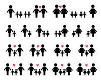 Значки семьи гея и лесбиянка Стоковое Изображение RF